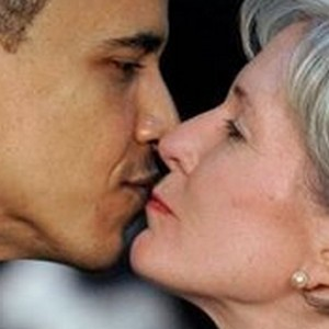 A disturbing picture of Obama & Sebelius exchanging bodily fluids, as it were