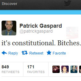 """it's constitutional. Bitches"" —  Obama official tweets"
