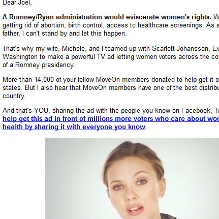 "Pro-Obama email from MoveOn.org flat-out lies on Romney ""getting rid of  abortion, birth control, access to heathcare screening"""