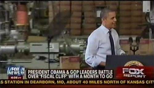 Obama on campaign trail, post-election (with his teleprompter industrial complex of course)