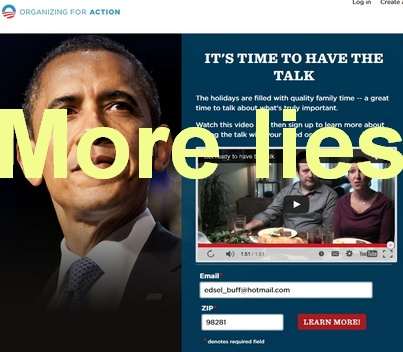 "Obama's OFA uses family and ""holidays"" fake-out, to get Obamacare support and cash"