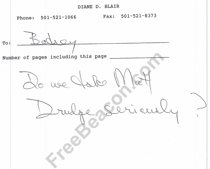 Diane Blair fax to Bill Clinton aid re sex assault charge
