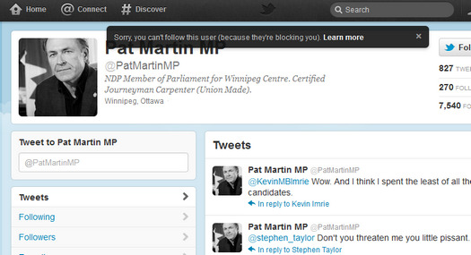 Pat Martin, an angery socialist MP is blocking me on Twitter