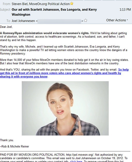 MoveOn.org lies via Rob Reiner in email about Romney